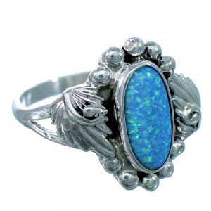 Navajo Sterling Silver And Blue Opal Scalloped Leaf Ring Size 9-1/4 SX111051