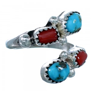 Sterling Silver Turquoise Coral American Indian Adjustable Ring Size 6,7,8 RX110844
