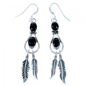 Onyx Sterling Silver Feather American Indian Hook Dangle Earrings RX110931