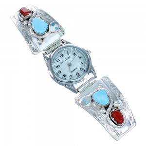 Zuni Snake Turquoise And Coral Sterling Silver Effie Calavaza Watch SX110956