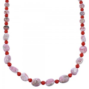 Rhodochrosite And Coral Genuine Sterling Silver American Indian Bead Necklace RX110998