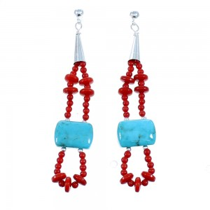 Turquoise And Coral Navajo 2-Strand Bead Sterling Silver Post Dangle Earrings SX111094