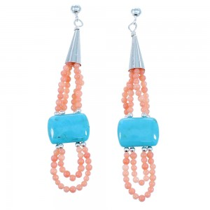Navajo Turquoise And Pink Coral 2-Strand Sterling Silver Bead Post Dangle Earrings SX111096