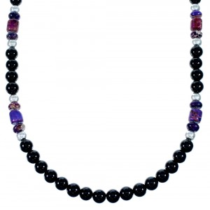 Navajo Sterling Silver Onyx And Magenta Turquoise Bead Necklace SX111101