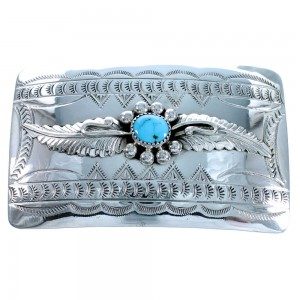 Navajo Sterling Silver Scalloped Leaf Turquoise Belt Buckle SX111295