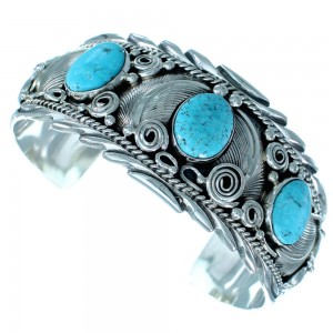 Navajo Turquoise Genuine Sterling Silver Leaf Cuff Bracelet SX111219