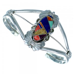 Sterling Silver Native American Multicolor Inlay Cuff Bracelet RX111325
