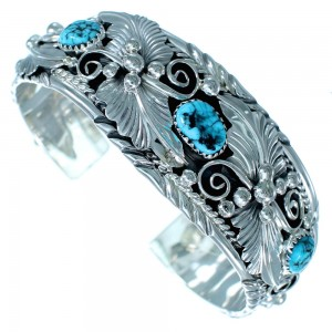 Navajo Sterling Silver Scalloped Leaf Turquoise Cuff Bracelet SX111351