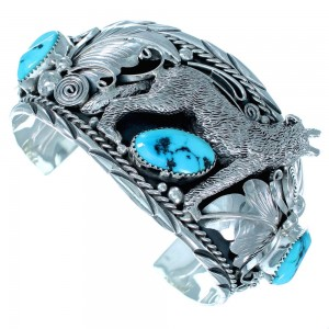 Turquoise Wolf Sterling Silver Navajo Cuff Bracelet RX111341