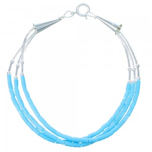 Blue Turquoise Hand Strung Liquid Sterling Silver Bracelet RX111365
