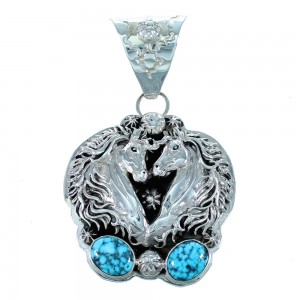 Navajo Ithaca Peak Turquoise Sterling Silver Horse Pendant SX111482
