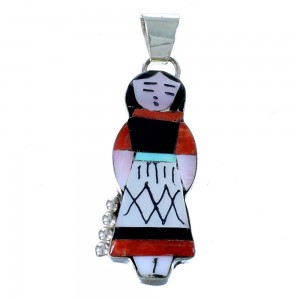 Multicolor Zuni Storyteller Woman Sterling Silver Pendant RX111451