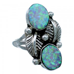 Genuine Sterling Silver Navajo Opal Leaf Ring Size 8 SX111558