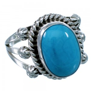 Navajo Sterling Silver And Turquoise Ring Size 7-1/4 SX111581