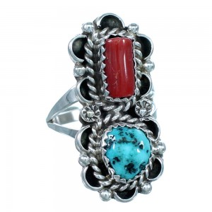 Sterling Silver Turquoise Coral American Indian Ring Size 7-1/2 SX111595