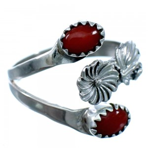 Navajo Coral Sterling Silver Adjustable Flower Ring Size 4,5,6 SX111900