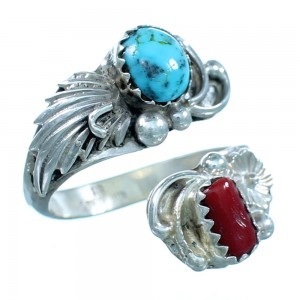 Turquoise Coral Navajo Flower Sterling Silver Adjustable Ring Size 4,5,6 SX111905