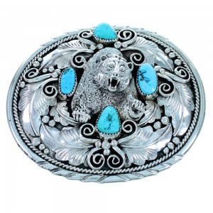 American Indian Bear Sterling Silver Turquoise Belt Buckle RX111641
