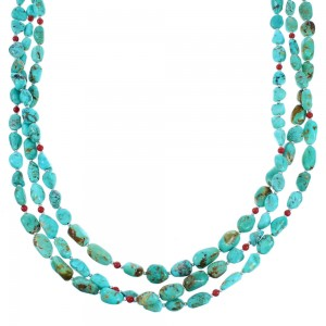 Turquoise Coral Sterling Silver Navajo 3-Strand Bead Necklace SX112006