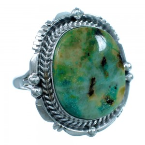 Native American Authentic Sterling Silver And Turquoise Ring Size 7 SX112288