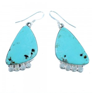 Turquoise Navajo Genuine Sterling Silver Hook Dangle Earrings SX112023