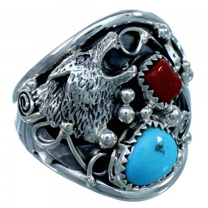 Genuine Sterling Silver Wolf Navajo Turquoise Coral  Ring Size 12-1/2  LX112796