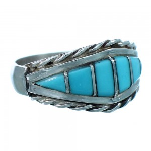 Turquoise Inlay Zuni Sterling Silver Ring Size 8-1/4 LX112861