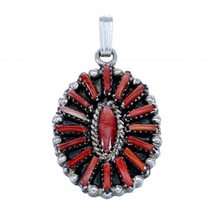 Red Oyster Shell Needlepoint Sterling Silver Pendant RX112069