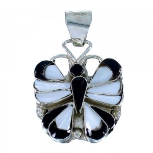 Multicolor Sterling Silver Butterfly Zuni Indian Pendant RX112070