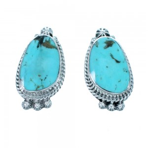Native American Turquoise Sterling Silver Post Earrings RX112348