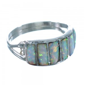 Opal Zuni Indian Sterling Silver Ring Size 8 RX112946