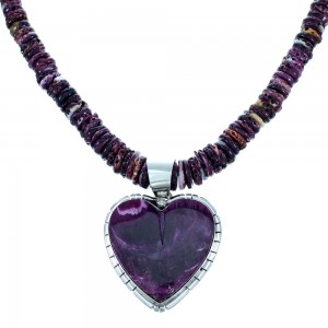 Native American Sterling Silver Purple Oyster Shell Heart Bead Necklace Set RX113129