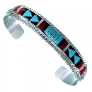 Sterling Silver And Multicolor Inlay Zuni Cuff Bracelet SX112602
