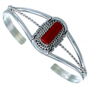 Navajo Sterling Silver And Coral Cuff Bracelet SX112598