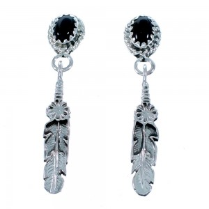 Onyx Sterling Silver Feather Native American Post Dangle Earrings RX112492