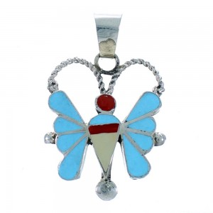 Sterling Silver Multicolor Inlay Zuni Butterfly Pendant RX113667