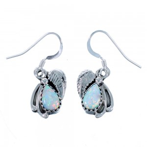 Sterling Silver Opal Navajo Indian Scalloped Leaf Hook Dangle Earrings RX112505