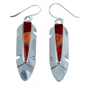 Feather Red And Orange Oyster Shell Sterling Silver Hook Dangle Earrings RX112516