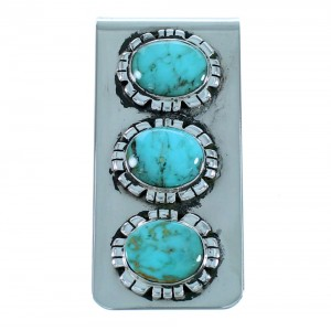 Southwest Sterling Silver Turquoise Money Clip SX112639