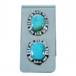 Southwestern Turquoise Sterling Silver Money Clip SX112643