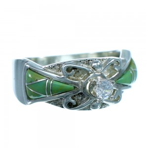 Sterling Silver Cubic Zirconia Turquoise Inlay Ring Size 6-3/4 LX113081
