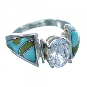 Cubic Zirconia Sterling Silver Turquoise Inlay Ring Size 7 LX113083