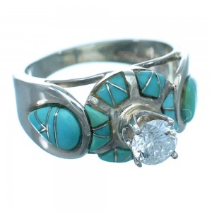 Cubic Zirconia Turquoise Inlay Sterling Silver Wedding Ring Size 5-3/4 LX113110