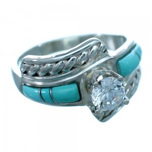 Turquoise Genuine Sterling Silver Cubic Zirconia Wedding Ring Size 6-1/4 LX113117