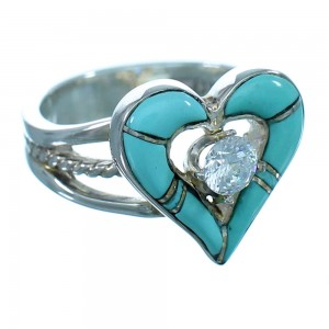 Cubic Zirconia Heart Turquoise Inlay Sterling Silver Ring  Size 5-1/4 LX113136