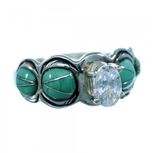 Turquoise Cubic Zirconia Sterling Silver Ring Size 6-1/2 LX113164