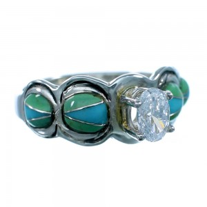 Cubic Zirconia Genuine Sterling Silver Turquoise Inlay Ring Size 7-1/4 LX113167