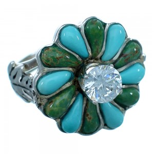 Genuine Sterling Silver Turquoise Inlay Flower Leaf Cubic Zirconia Ring Size 6-1/4 LX113181