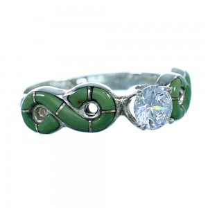 Turquoise Inlay Genuine Sterling Silver Cubic Zirconia Wedding Ring Size 7 LX113195