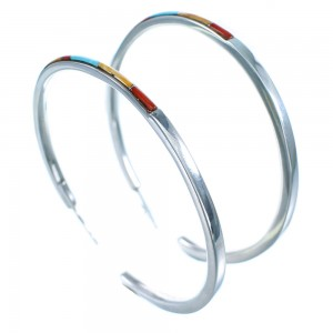 Multicolor Sterling Silver Southwestern Post Hoop Earrings LX112958